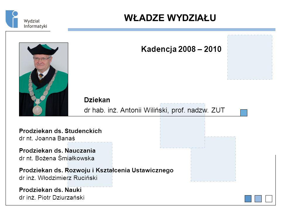 WŁADZE WYDZIAŁU Kadencja 2008 – 2010 Dziekan