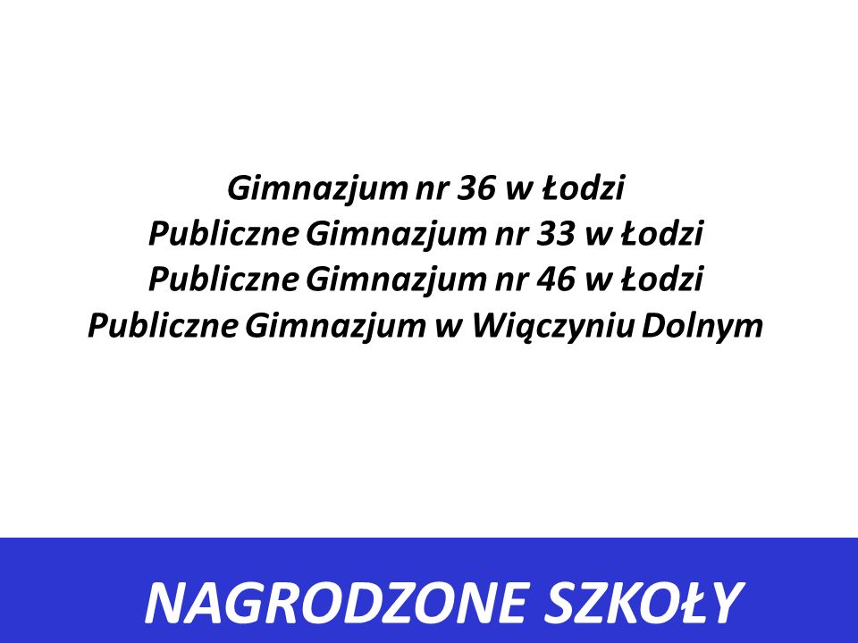 Gimnazjum nr 36 w Łodzi Publiczne Gimnazjum nr 33 w Łodzi Publiczne Gimnazjum nr 46 w Łodzi Publiczne Gimnazjum w Wiączyniu Dolnym