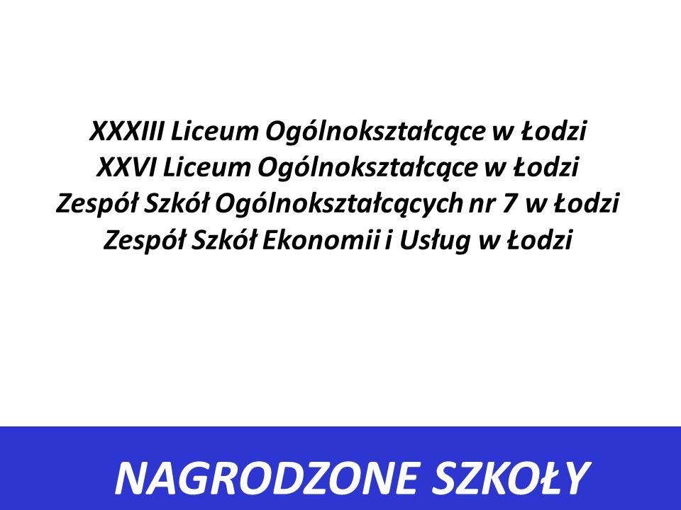 XXXIII Liceum Ogólnokształcące w Łodzi XXVI Liceum Ogólnokształcące w Łodzi Zespół Szkół Ogólnokształcących nr 7 w Łodzi Zespół Szkół Ekonomii i Usług w Łodzi