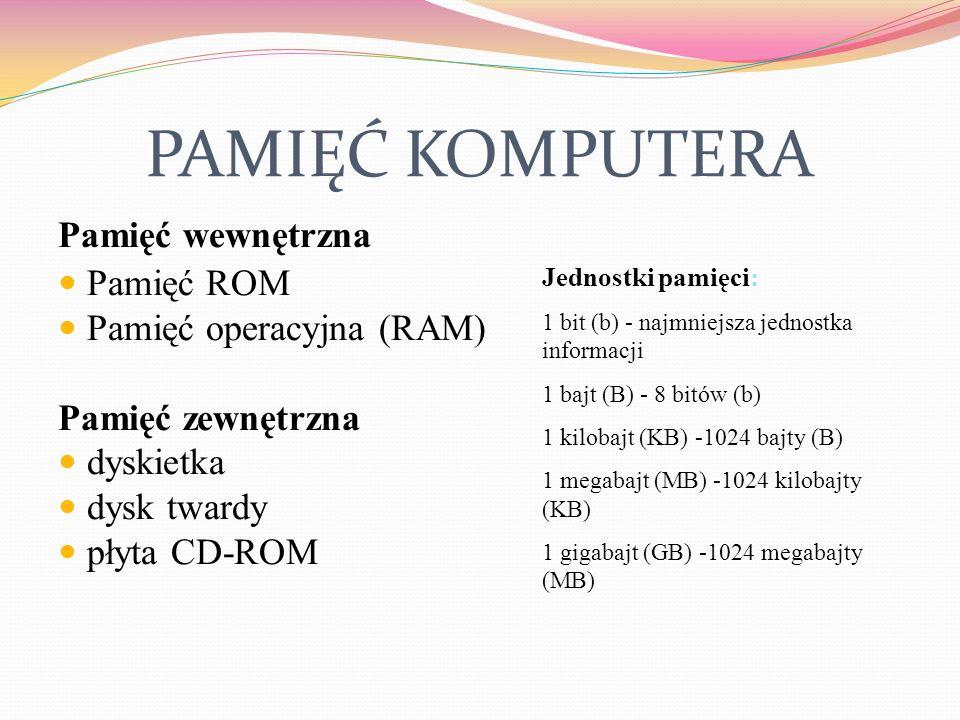 PAMIĘĆ KOMPUTERA Pamięć wewnętrzna Pamięć ROM Pamięć operacyjna (RAM)