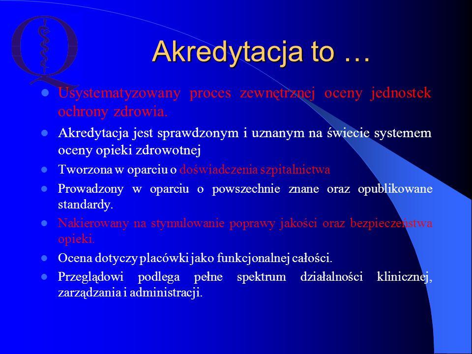 Akredytacja to … Usystematyzowany proces zewnętrznej oceny jednostek ochrony zdrowia.