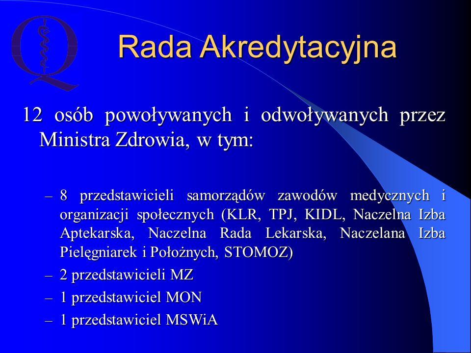 Rada Akredytacyjna 12 osób powoływanych i odwoływanych przez Ministra Zdrowia, w tym:
