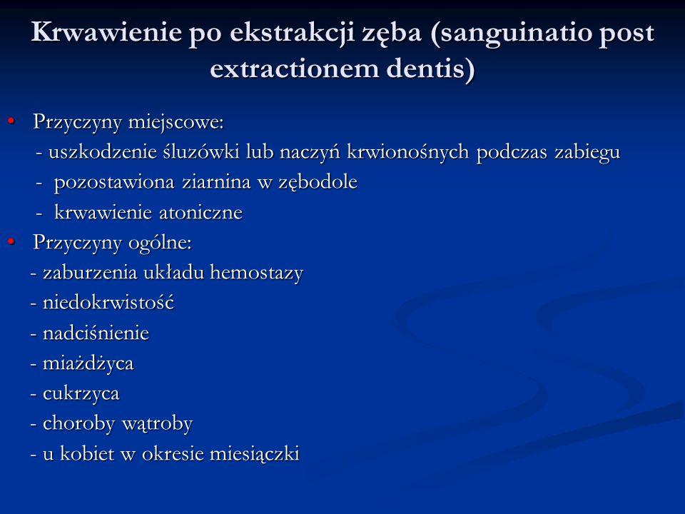 Krwawienie po ekstrakcji zęba (sanguinatio post extractionem dentis)