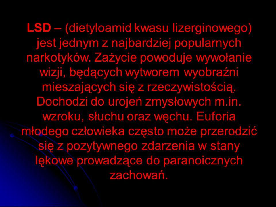 LSD – (dietyloamid kwasu lizerginowego) jest jednym z najbardziej popularnych narkotyków.