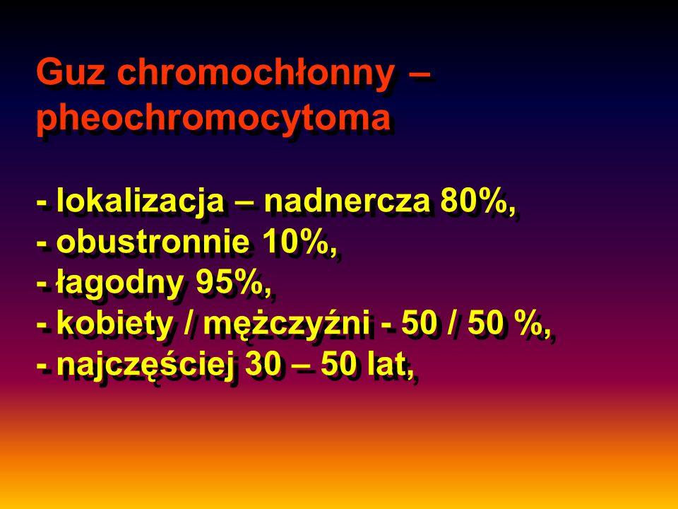 Guz chromochłonny – pheochromocytoma - lokalizacja – nadnercza 80%, - obustronnie 10%, - łagodny 95%, - kobiety / mężczyźni - 50 / 50 %, - najczęściej 30 – 50 lat,