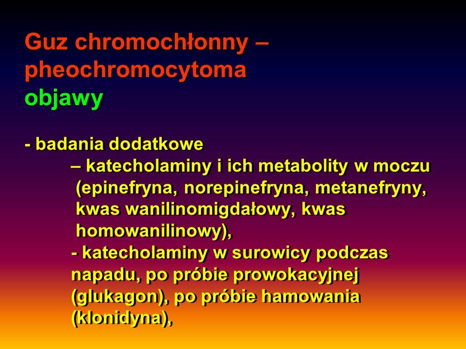 Guz chromochłonny – pheochromocytoma objawy - badania dodatkowe