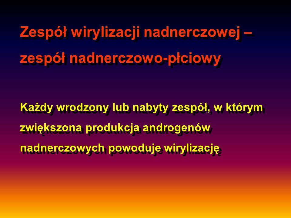 Zespół wirylizacji nadnerczowej – zespół nadnerczowo-płciowy Każdy wrodzony lub nabyty zespół, w którym zwiększona produkcja androgenów nadnerczowych powoduje wirylizację