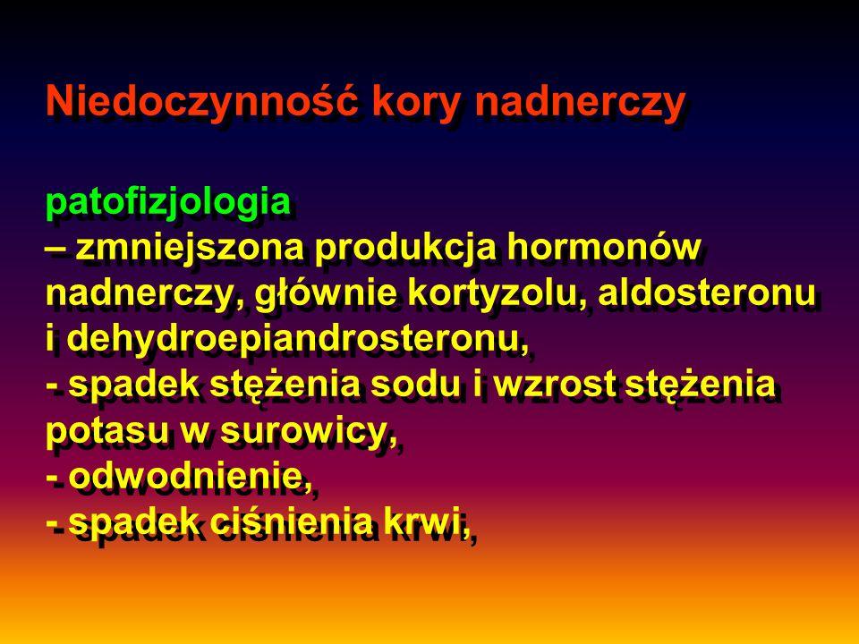 Niedoczynność kory nadnerczy patofizjologia – zmniejszona produkcja hormonów nadnerczy, głównie kortyzolu, aldosteronu i dehydroepiandrosteronu, - spadek stężenia sodu i wzrost stężenia potasu w surowicy, - odwodnienie, - spadek ciśnienia krwi,