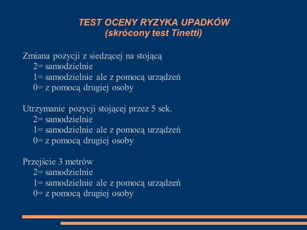 TEST OCENY RYZYKA UPADKÓW (skrócony test Tinetti)