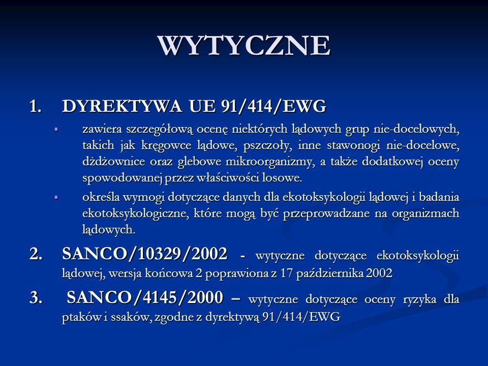 WYTYCZNE 1. DYREKTYWA UE 91/414/EWG