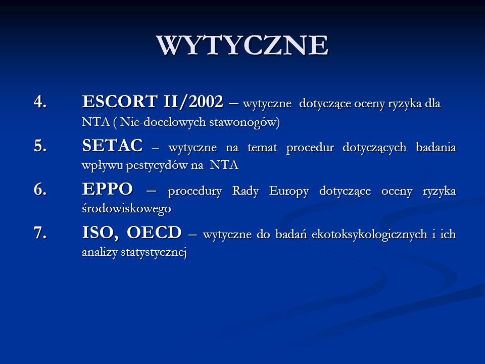 WYTYCZNE 4. ESCORT II/2002 – wytyczne dotyczące oceny ryzyka dla NTA ( Nie-docelowych stawonogów)