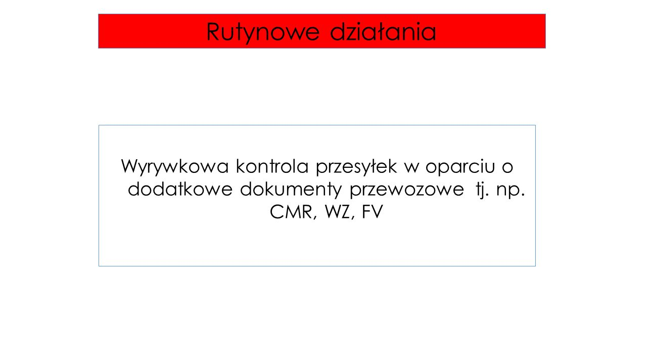 Rutynowe działania Wyrywkowa kontrola przesyłek w oparciu o dodatkowe dokumenty przewozowe tj.