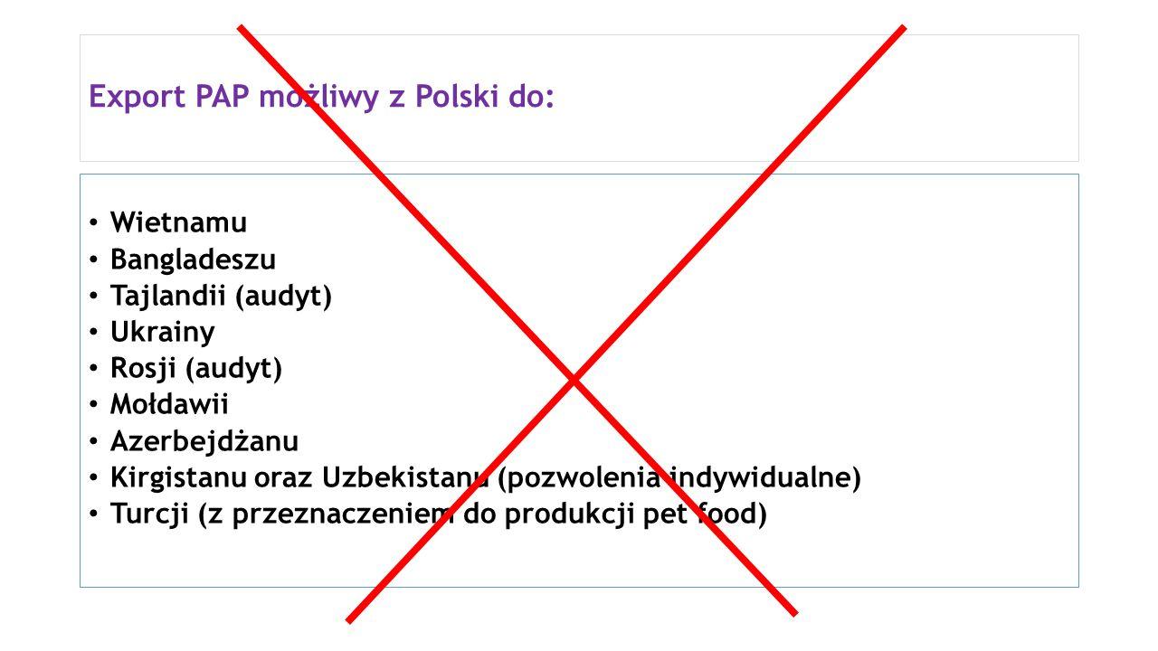 Export PAP możliwy z Polski do:
