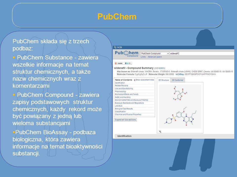 PubChem PubChem składa się z trzech podbaz: