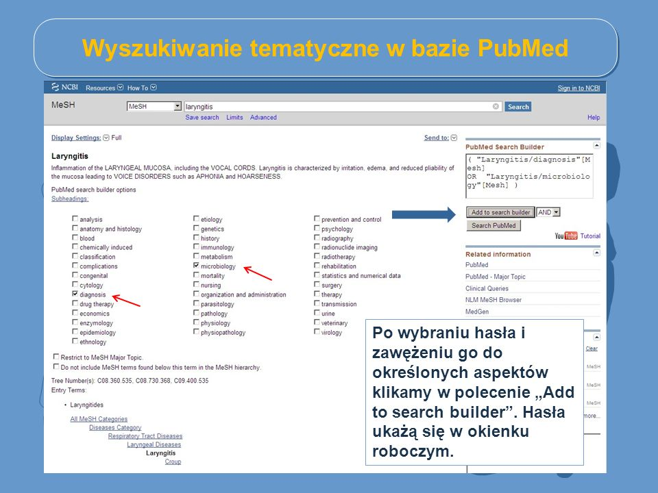 Wyszukiwanie tematyczne w bazie PubMed