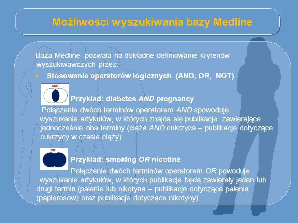 Możliwości wyszukiwania bazy Medline