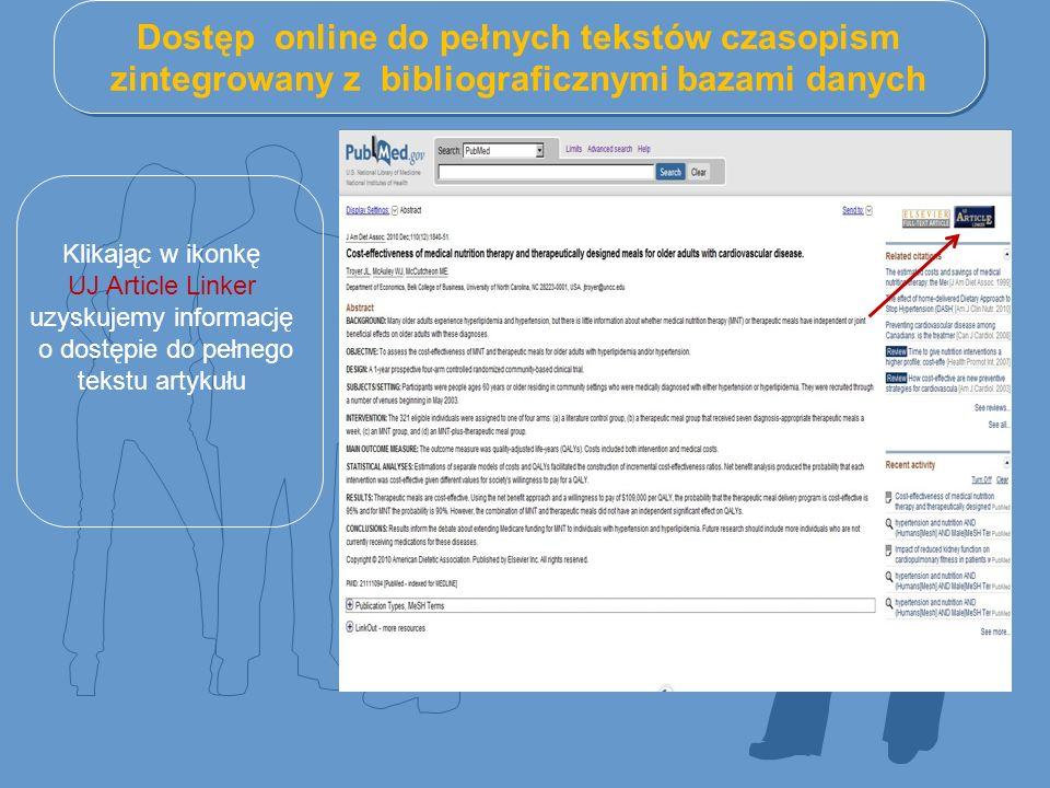 Dostęp online do pełnych tekstów czasopism zintegrowany z bibliograficznymi bazami danych