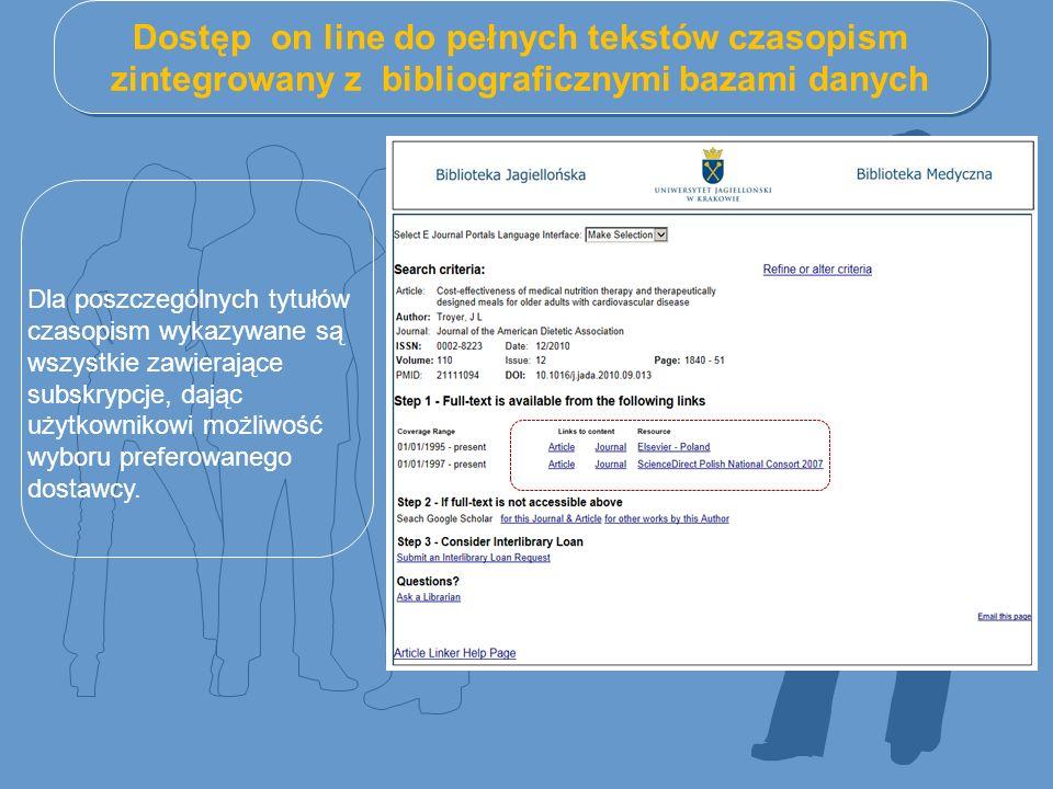 Dostęp on line do pełnych tekstów czasopism zintegrowany z bibliograficznymi bazami danych