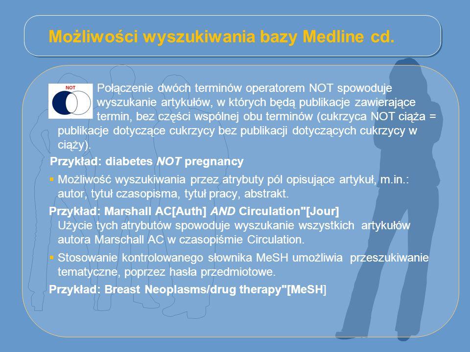 Możliwości wyszukiwania bazy Medline cd.
