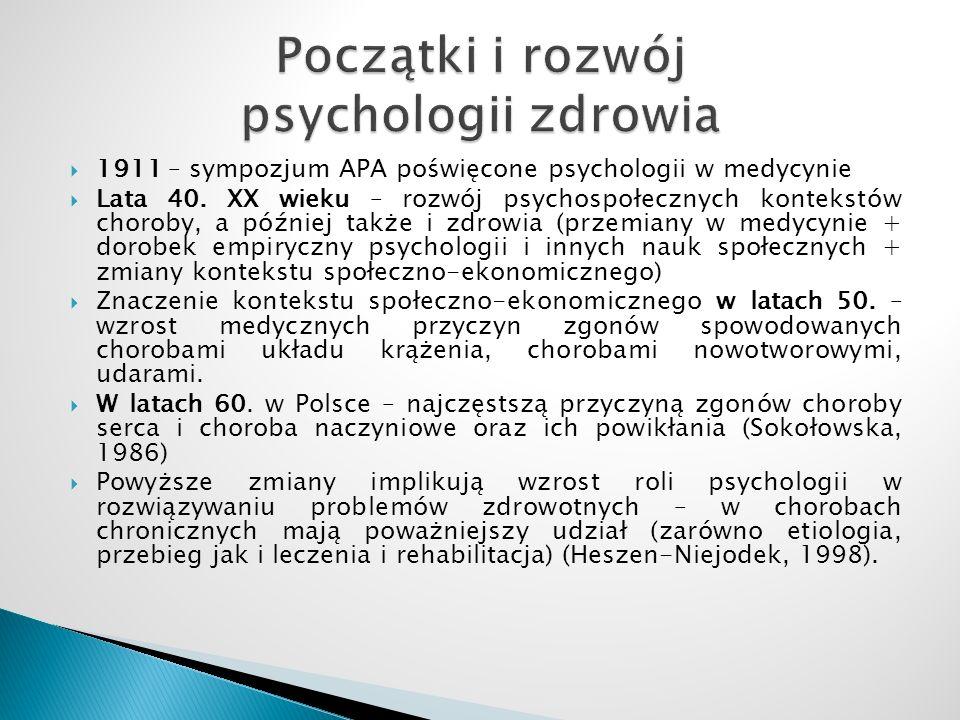 Początki i rozwój psychologii zdrowia