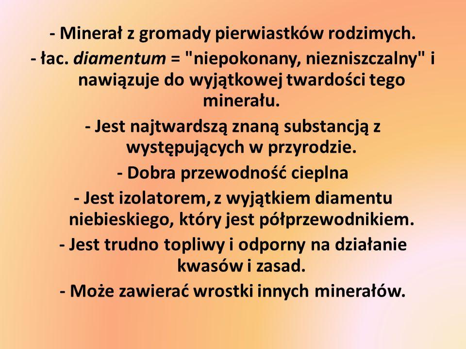 - Minerał z gromady pierwiastków rodzimych.