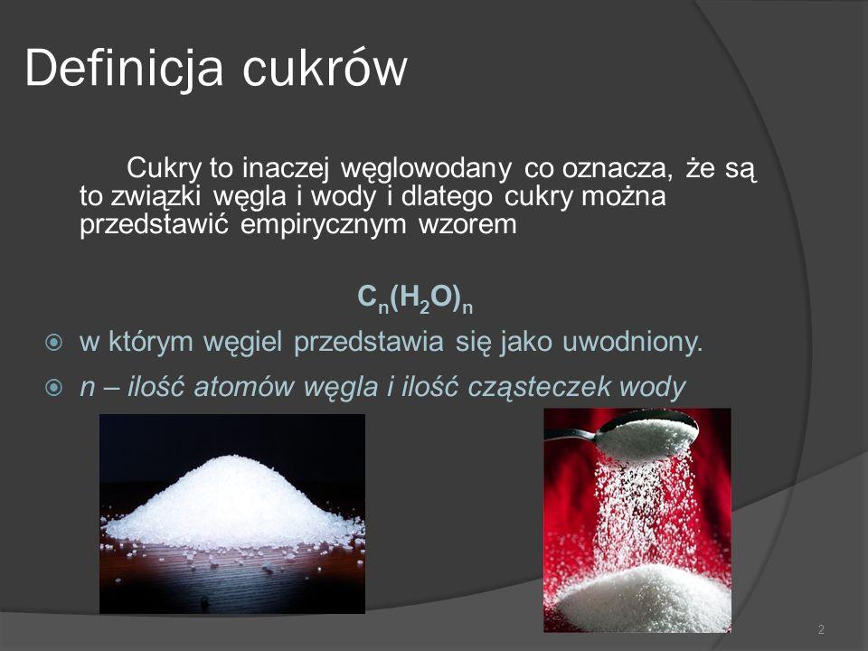 Definicja cukrów Cukry to inaczej węglowodany co oznacza, że są to związki węgla i wody i dlatego cukry można przedstawić empirycznym wzorem.