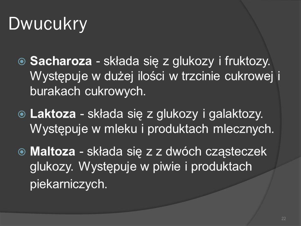 Dwucukry Sacharoza - składa się z glukozy i fruktozy. Występuje w dużej ilości w trzcinie cukrowej i burakach cukrowych.