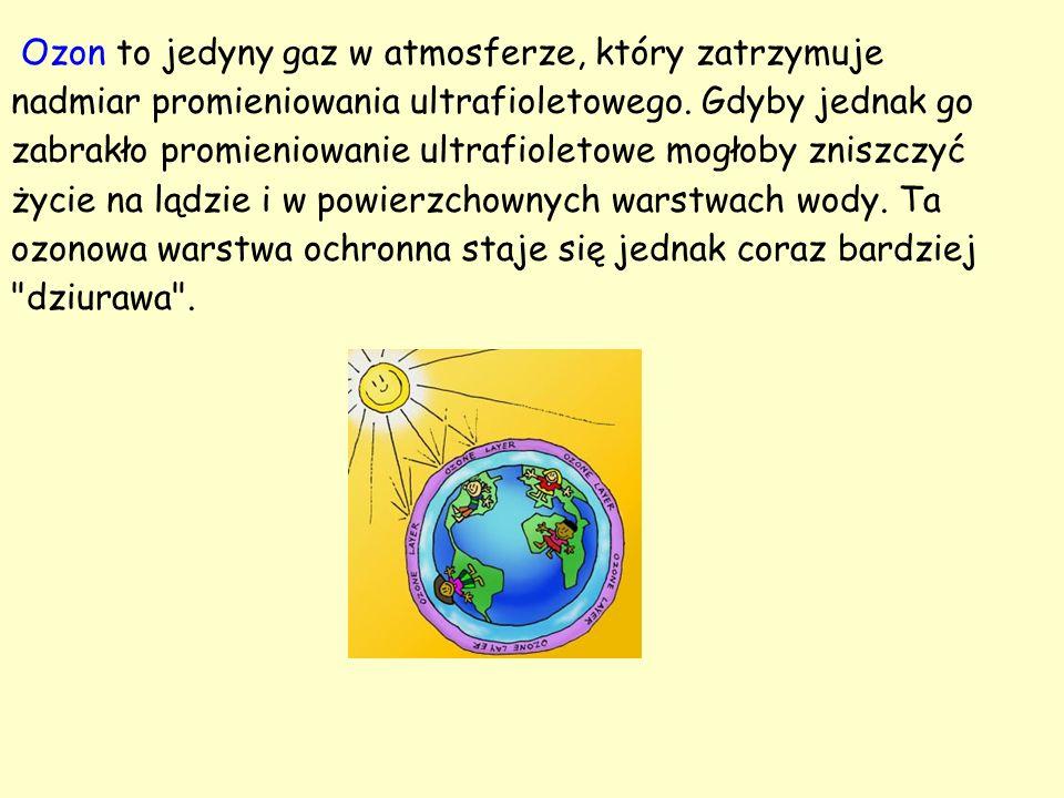 Ozon to jedyny gaz w atmosferze, który zatrzymuje nadmiar promieniowania ultrafioletowego.