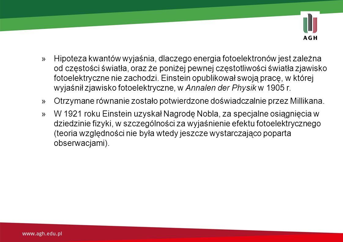 Hipoteza kwantów wyjaśnia, dlaczego energia fotoelektronów jest zależna od częstości światła, oraz że poniżej pewnej częstotliwości światła zjawisko fotoelektryczne nie zachodzi. Einstein opublikował swoją pracę, w której wyjaśnił zjawisko fotoelektryczne, w Annalen der Physik w 1905 r.