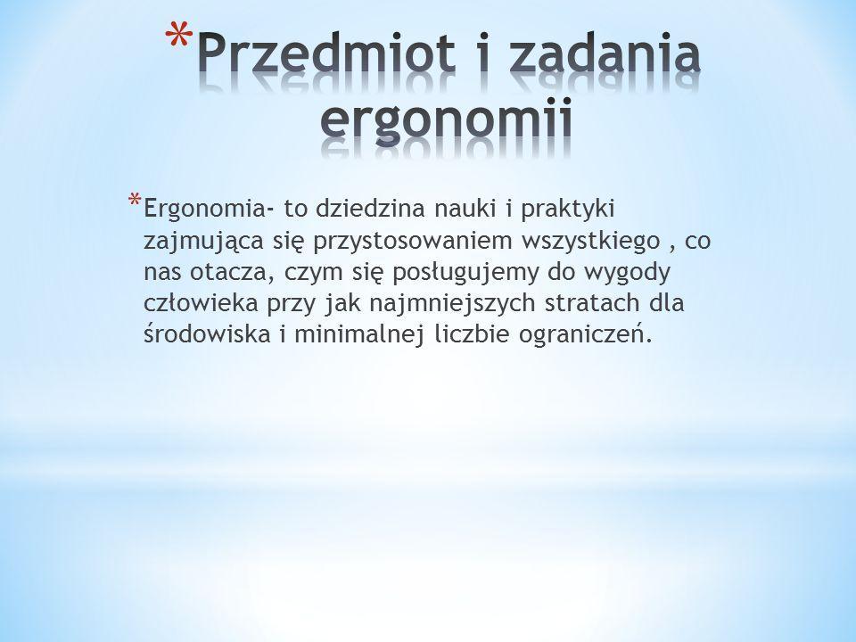 Przedmiot i zadania ergonomii