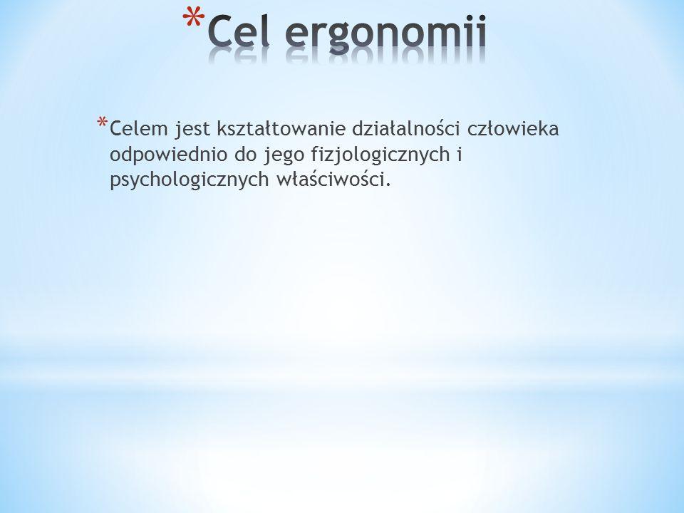 Cel ergonomii Celem jest kształtowanie działalności człowieka odpowiednio do jego fizjologicznych i psychologicznych właściwości.