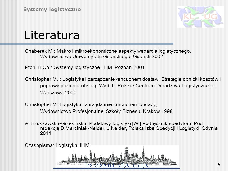 Literatura Systemy logistyczne