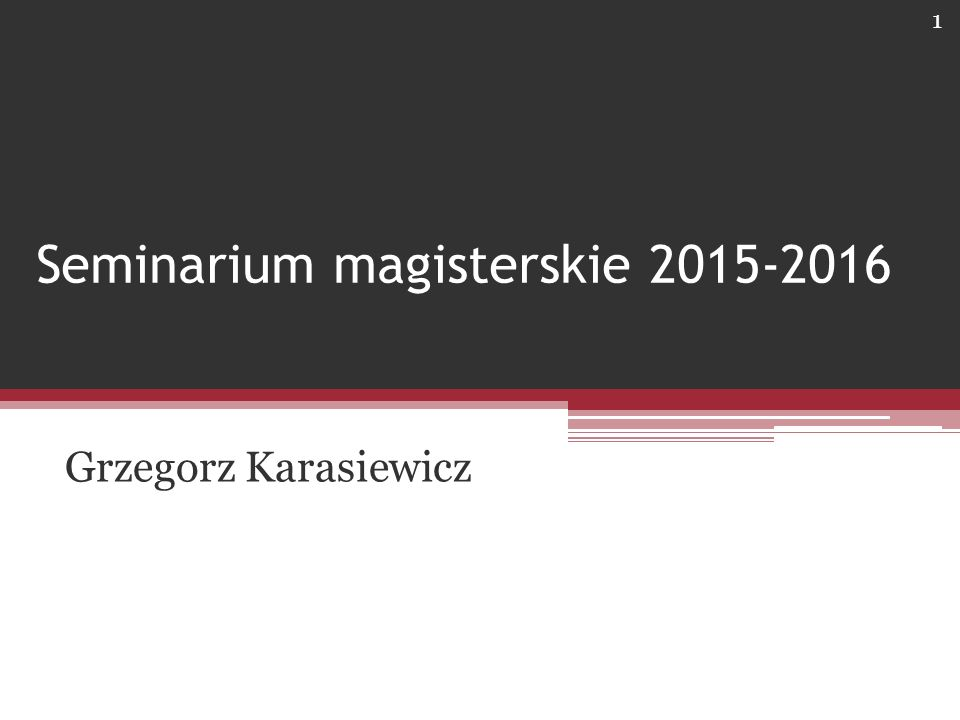 Seminarium magisterskie 2015-2016