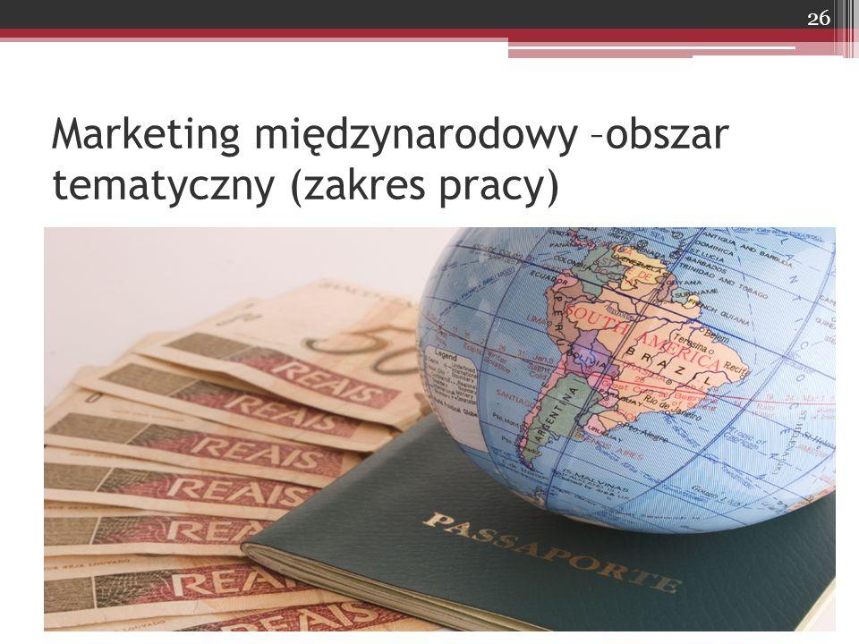 Marketing międzynarodowy –obszar tematyczny (zakres pracy)