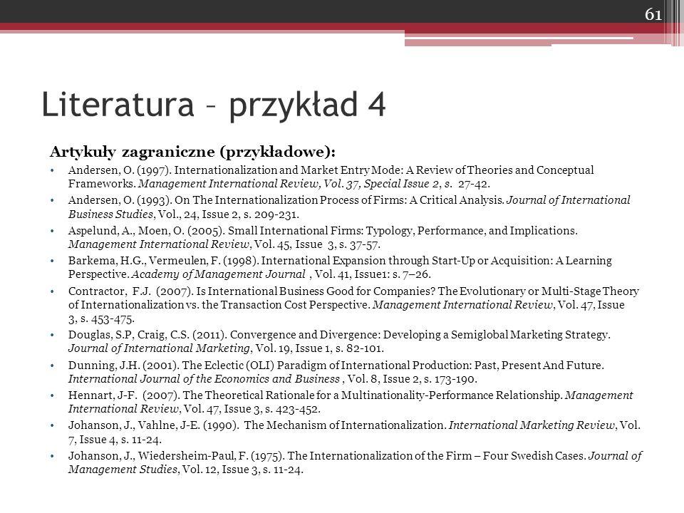 Literatura – przykład 4 Artykuły zagraniczne (przykładowe):