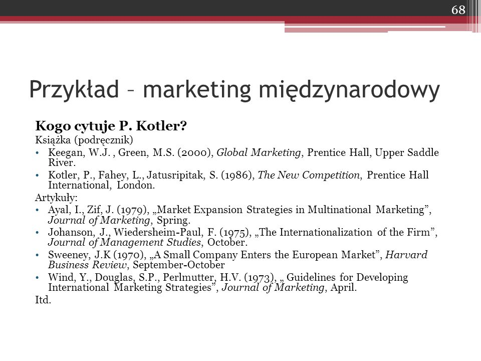 Przykład – marketing międzynarodowy