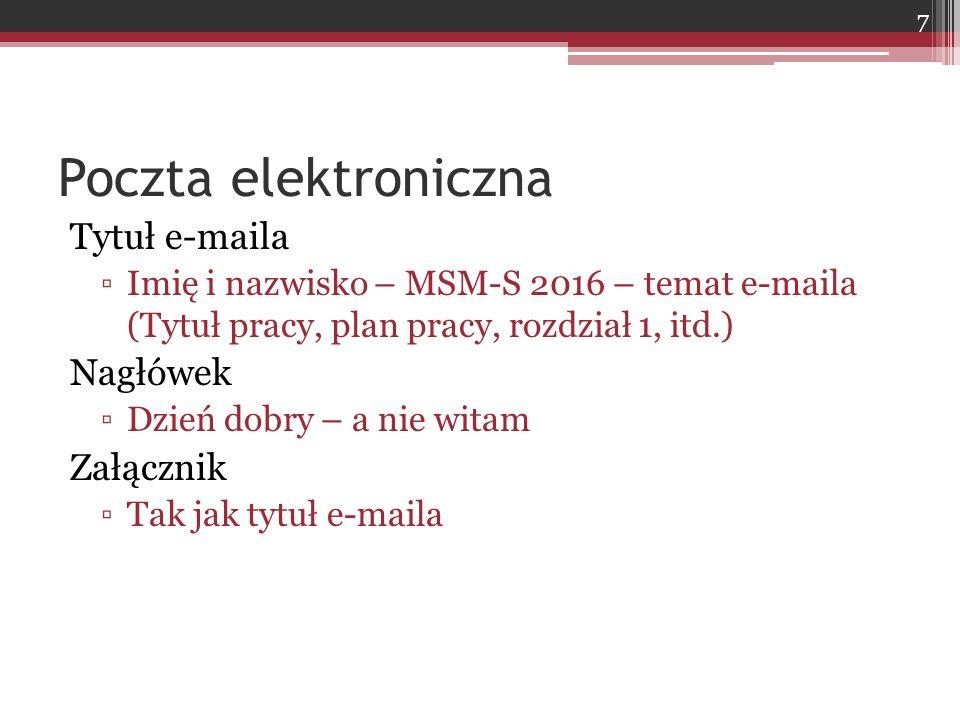 Poczta elektroniczna Tytuł e-maila Nagłówek Załącznik