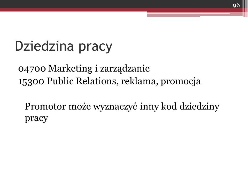 Dziedzina pracy 04700 Marketing i zarządzanie
