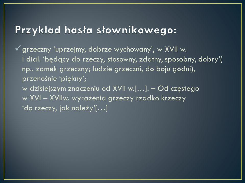 Przykład hasła słownikowego: