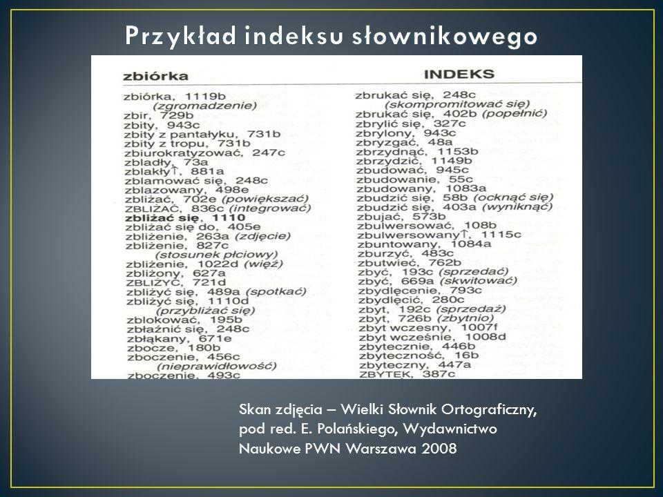 Przykład indeksu słownikowego