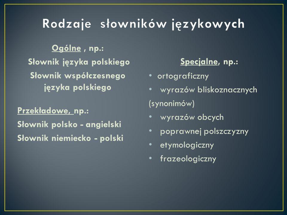Rodzaje słowników językowych