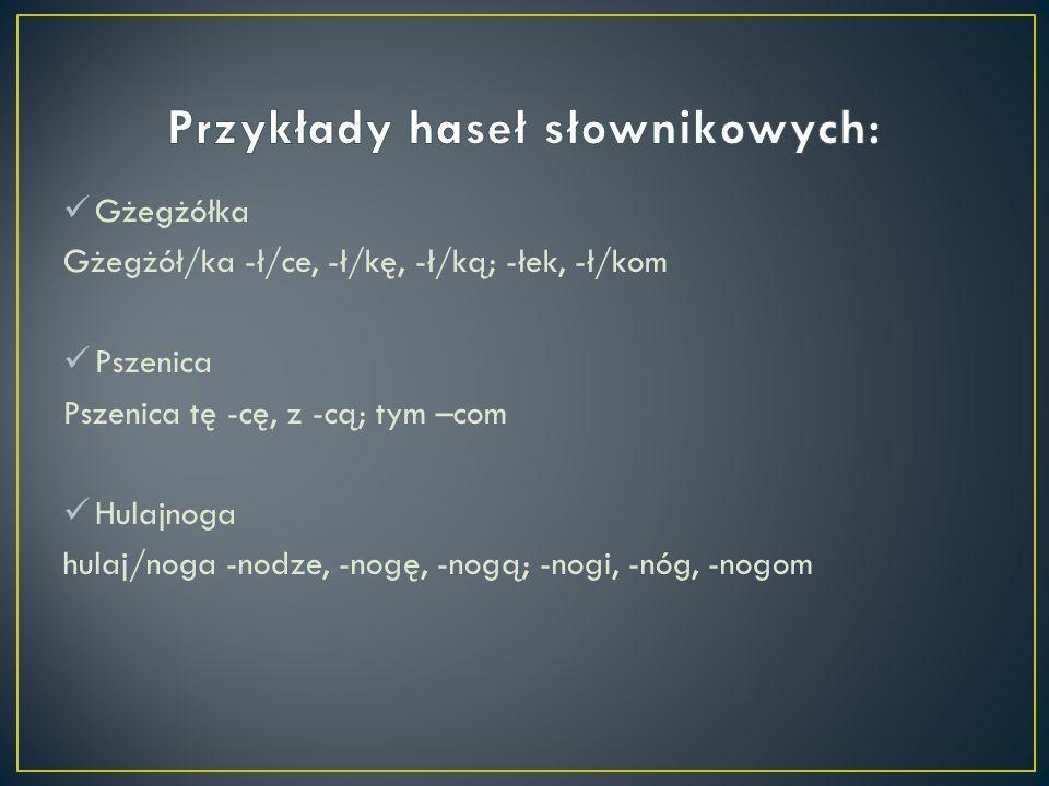 Przykłady haseł słownikowych: