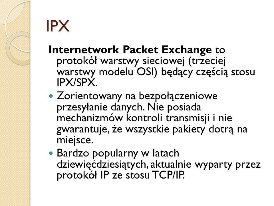 IPX Internetwork Packet Exchange to protokół warstwy sieciowej (trzeciej warstwy modelu OSI) będący częścią stosu IPX/SPX.