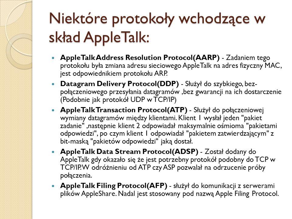 Niektóre protokoły wchodzące w skład AppleTalk: