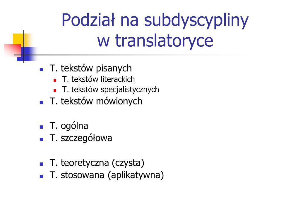 Podział na subdyscypliny w translatoryce