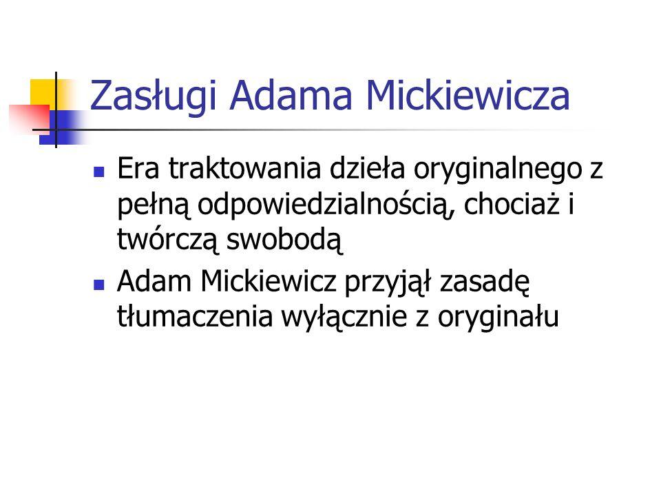 Zasługi Adama Mickiewicza