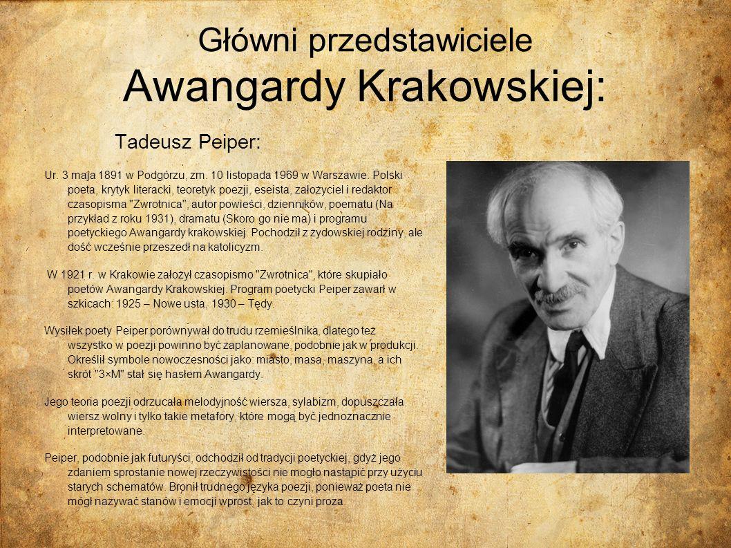 Główni przedstawiciele Awangardy Krakowskiej: