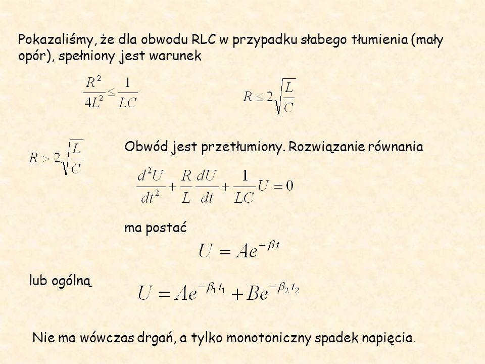 Pokazaliśmy, że dla obwodu RLC w przypadku słabego tłumienia (mały opór), spełniony jest warunek
