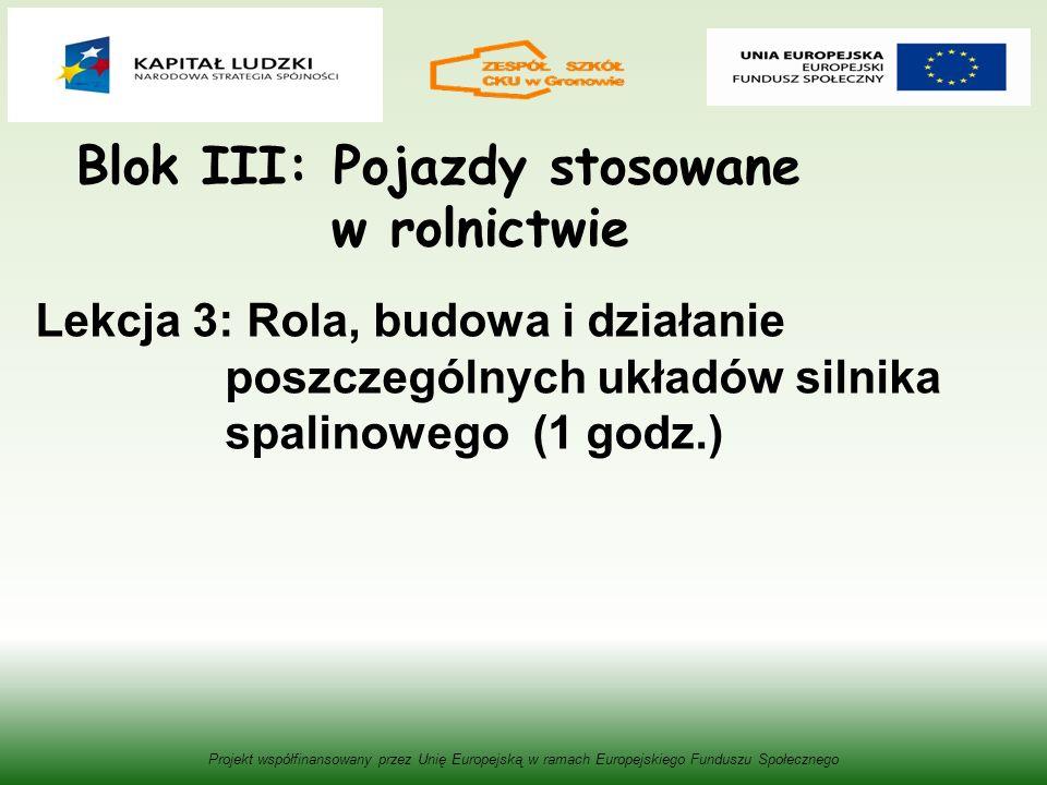 Blok III: Pojazdy stosowane w rolnictwie