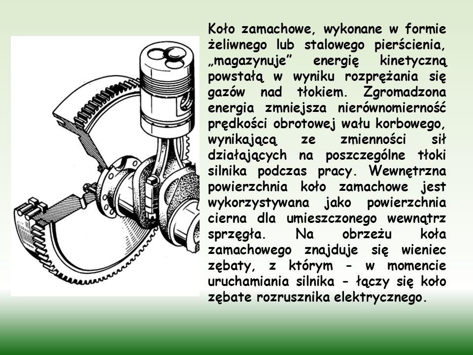 """Koło zamachowe, wykonane w formie żeliwnego lub stalowego pierścienia, """"magazynuje energię kinetyczną powstałą w wyniku rozprężania się gazów nad tłokiem."""